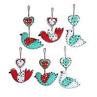 Wool ornaments, 'Love Messengers' (set of 6) - Heart and Bird-Shaped Wool Ornaments (Set of 6) from India