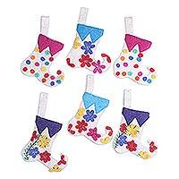 Wool ornaments, 'Cheerful Stockings' (set of 6) - Stocking-Shaped Wool Ornaments (Set of 6) from India