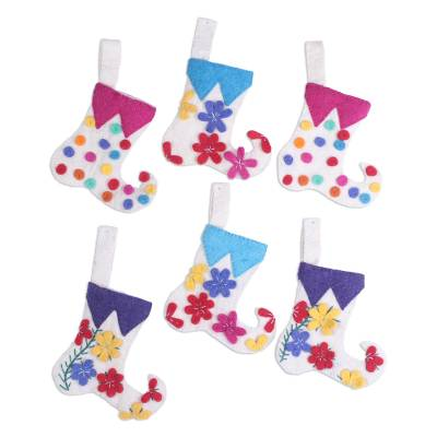 Wool felt ornaments, 'Cheerful Stockings' (set of 6) - Stocking-Shaped Wool Ornaments (Set of 6) from India