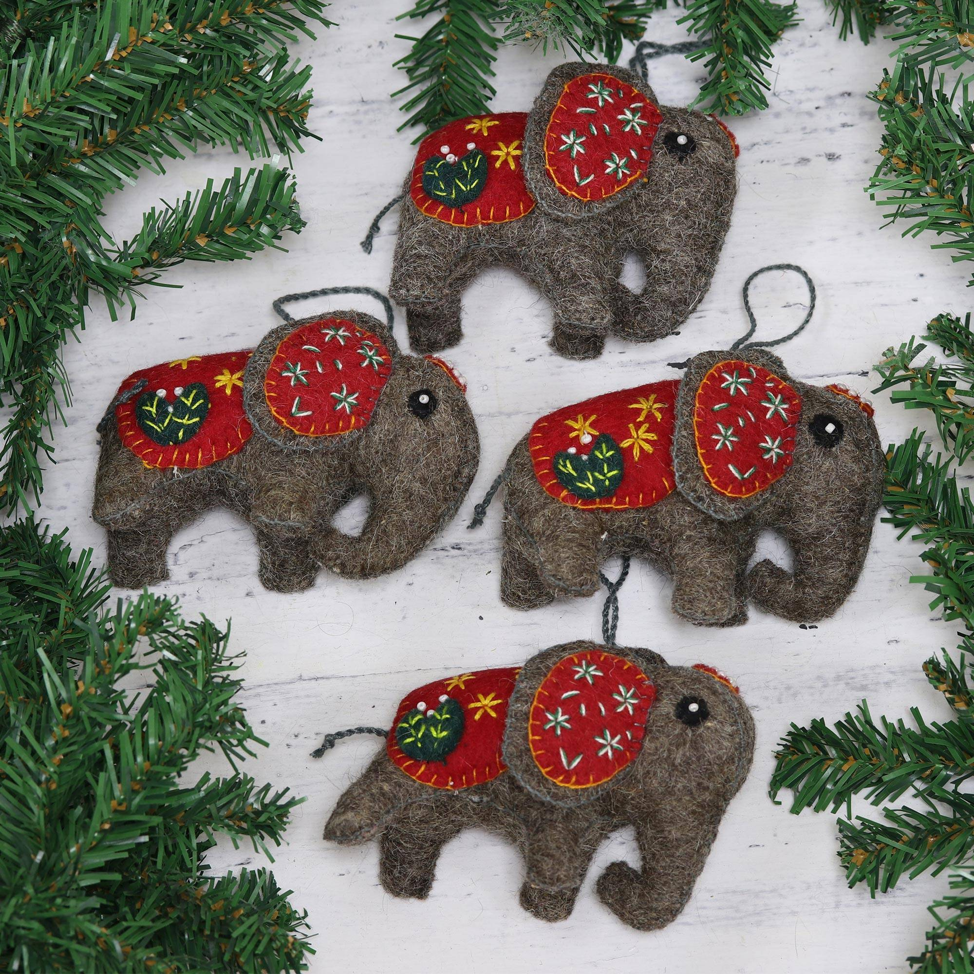 Set Of Four Handcrafted Wool Elephant Ornaments From India Elephant Saga