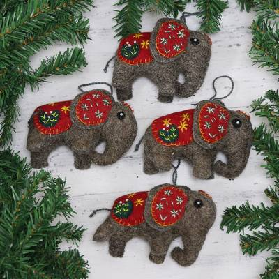 Wool felt ornaments, 'Elephant Saga' (set of 4) - Set of Four Handcrafted Wool Elephant Ornaments from India