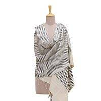 Silk shawl, 'Checkered Beauty in Flint' - Handmade Champagne and Flint Patterned Indian Eri Silk Shawl
