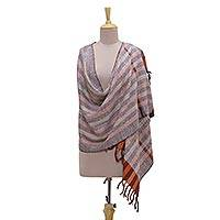 Silk shawl, 'Harvest Fusion' - Handwoven Striped 100% Silk Shawl from India