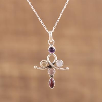 Novica Multi-gemstone pendant necklace, Joyful Colors