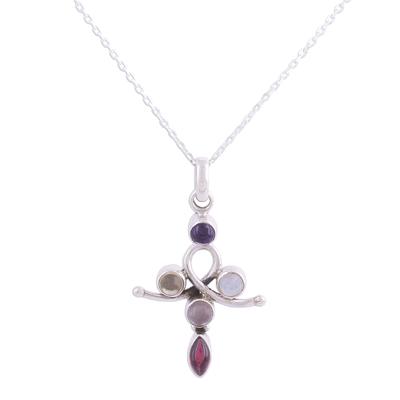 Multi-gemstone pendant necklace, 'Curvy Cross' - Cross-Shaped Multi-Gemstone Pendant Necklace from India