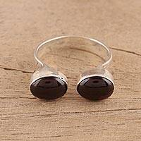 Garnet wrap ring, 'Red Appeal' - Oval Garnet and Sterling Silver Wrap Ring from India