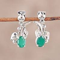 Rhodium plated onyx dangle earrings, 'Garden Greens' - Rhodium Plated Onyx Dangle Earrings from India