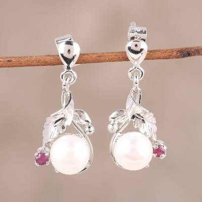 Rhodium plated cultured pearl and ruby dangle earrings, 'White Glamour' - Rhodium Plated Pearl and Ruby Dangle Earrings from India