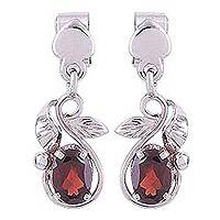 Rhodium plated garnet dangle earrings, 'Radiant Vines' - Rhodium Plated Leaf Motif Garnet Dangle Earrings
