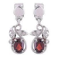 Rhodium plated garnet dangle earrings, 'Radiant Vines' - Rhodium Plated Leaf Motif Garnet Dangle Earrings