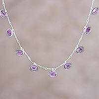 Amethyst pendant necklace, 'Twinkling Purple' - Faceted Amethyst and Silver Pendant Necklace from India