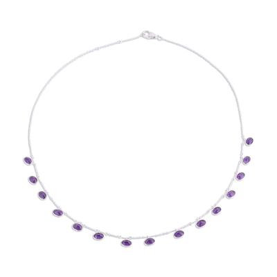 Amethyst pendant necklace, 'Twinkling Purple' - Faceted Amethyst and Silver Pendant Necklace from India