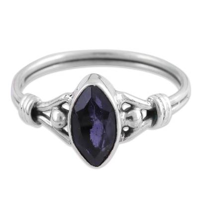 Iolite cocktail ring, 'Glorious Marquise' - Iolite and Sterling Silver Cocktail Ring from India