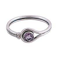 Rhodium plated amethyst cocktail ring, 'Lassoed Lilac' - Rhodium Plated Amethyst Cocktail Ring from India