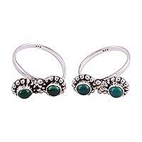 Onyx toe rings, 'Beauteous Green' - Green Onyx and Sterling Silver Toe Rings from India