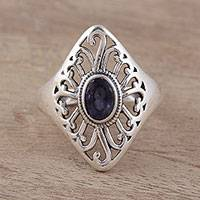 Iolite cocktail ring, 'Twilight's Blush' - Artisan Crafted Sterling Silver and Iolite Cocktail Ring