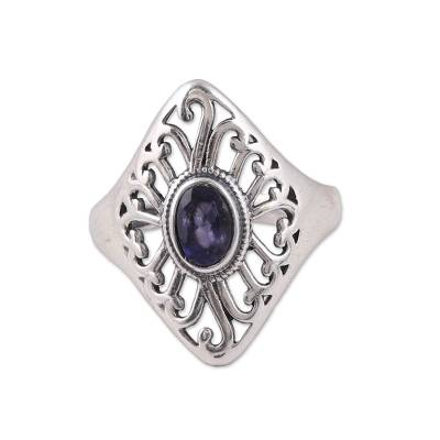 Artisan Crafted Sterling Silver and Iolite Cocktail Ring