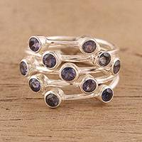 Iolite multi-stone cocktail ring, 'Starry Evening' - Indian Multi-stone Iolite and Sterling Silver Cocktail Ring