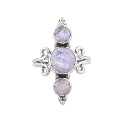 Rainbow moonstone multi-stone cocktail ring, 'Alliance of Three' - Indian Rainbow Moonstone and Sterling Silver Cocktail Ring