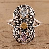 Multi-gemstone cocktail ring, 'Infinitude' - Artisan Crafted Multi-Gemstone Sterling Silver Cocktail Ring