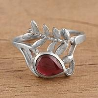 Rhodium plated garnet cocktail ring, 'Empress of India' - Indian Handcrafted Sterling Silver and Garnet Cocktail Ring
