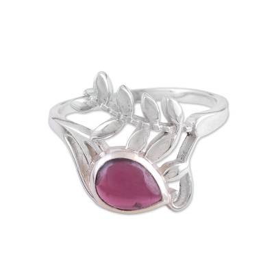 Indian Handcrafted Sterling Silver and Garnet Cocktail Ring