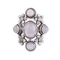 Rainbow moonstone multi-stone cocktail ring, 'Vision of Beauty' - Indian Sterling Silver and Rainbow Moonstone Cocktail Ring