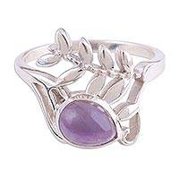 Rhodium plated amethyst cocktail ring, 'Fruit of the Jungle' - Rhodium Plated Amethyst Ring with Leaf Motif