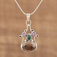 Multi-gemstone pendant necklace, 'Shadows at Sunset' - Multi-gemstone Sterling Silver Pendant Necklace from India