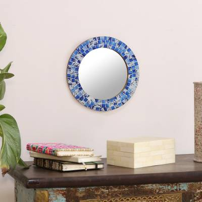 Glass mosaic wall mirror, 'Tropical Ocean' - Glass Mosaic Round Wall Mirror from India