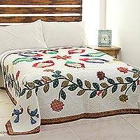 Cotton quilt, 'Fish Kingdom' - Fish Motif Patchwork Cotton Quilt from India