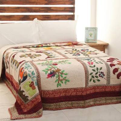 Cotton quilt, 'Village Art' - Bird and Fish Motif Patchwork Cotton Quilt from India