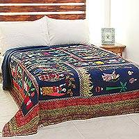 Cotton quilt, 'Indian Village Women' - Cultural Motif Patchwork Cotton Quilt from India