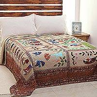 Cotton quilt, 'Desert Village' - Multicolored  Patchwork Cotton Quilt from India