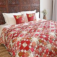 Cotton quilt, 'Blooming Red Hues' - Floral Motif Patchwork Cotton Quilt from India