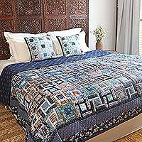 Cotton quilt, 'Blue Divinity' - Colorful Floral Patchwork Cotton Quilt from India