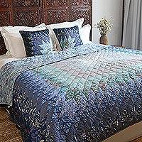 Cotton quilt, 'Moonlight Beauty' - Patchwork Cotton Quilt in Blue from India