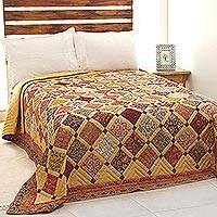 Cotton quilt, 'Bamboo Fence' - Patchwork Cotton Quilt with Printed Motifs from India