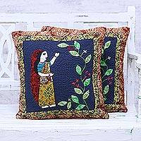 Cotton cushion covers, 'Indian Maiden' (pair) - Pair of Patchwork Cotton Cushion Covers from India
