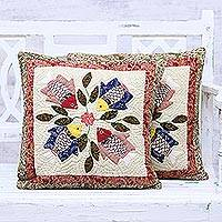 Cotton cushion covers, 'Aquatic Life' (pair) - Pair of Patchwork Cotton Cushion Covers from India