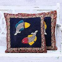 Cotton cushion covers, 'Fish Bliss' (pair) - Cotton Patchwork Cushion Covers with Fish Motif (Pair)