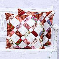Cotton cushion covers, 'Patchwork Cheer' (pair) - Pair of Red and White Patchwork Cotton Cushion Covers