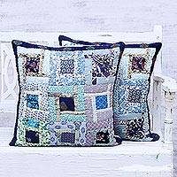 Cotton cushion covers, 'Blue Harmony' (pair) - Blue Patchwork Cotton Cushion Covers from India (Pair)
