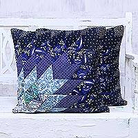 Cotton cushion covers, 'Atmosphere' (pair) - Pair of Blue Patchwork Cotton Cushion Covers