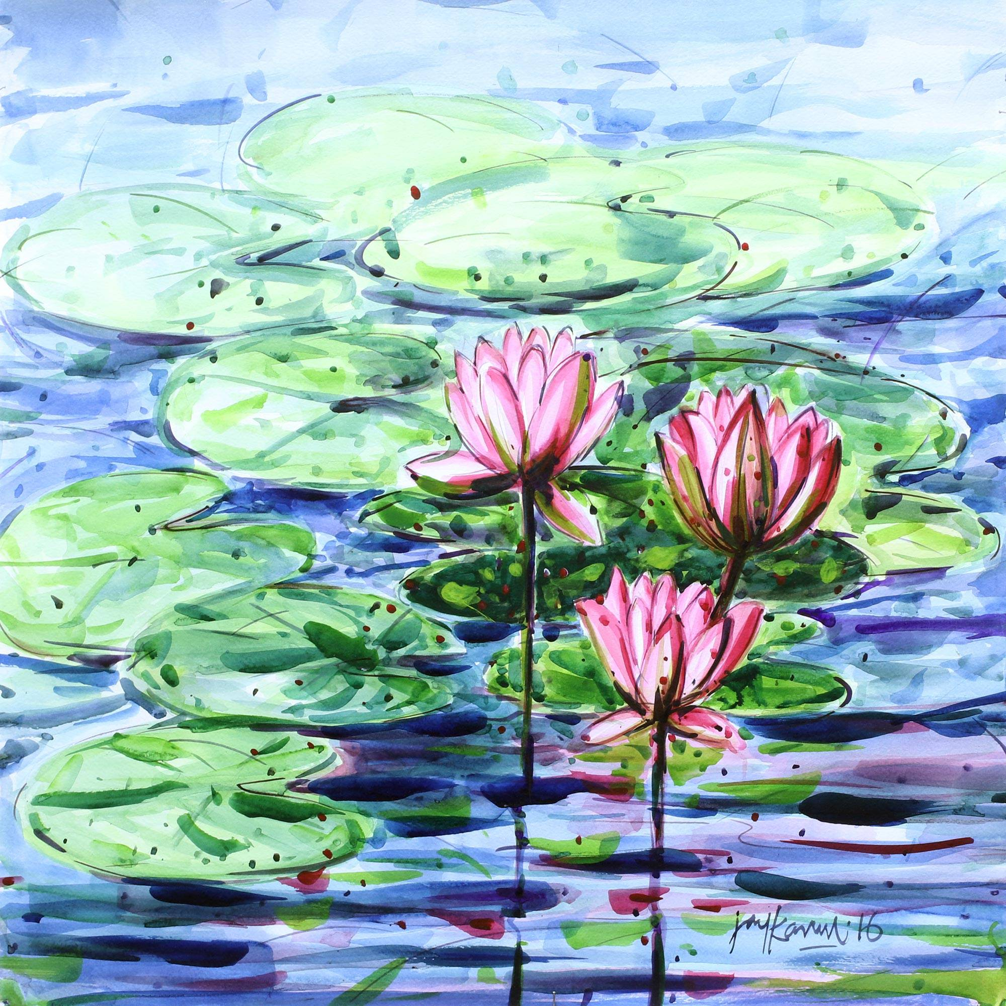 Original Lotus Blossom Watercolor Painting Fro India Water Lilies