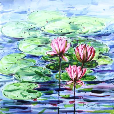 49aaa94d8c1e76 'Water Lilies II' - Original Lotus Blossom Watercolor Painting fro India