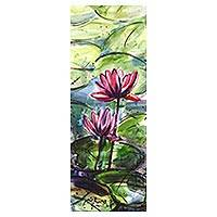 'Lily Blossoms' - Original Watercolor Floral Painting from India