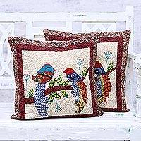 Cotton cushion covers, 'Love Birds' (pair) - Pair of Cotton Cushion Covers with Bird Motif