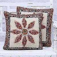 Quilted cotton cushion covers, 'Flower World' (pair) - Pair of Floral Cotton Patchwork Cushion Covers from India
