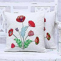 Quilted cotton cushion covers, 'Poppy Delight' (pair) - Pair of Poppy Motif Cotton Cushion Covers from India